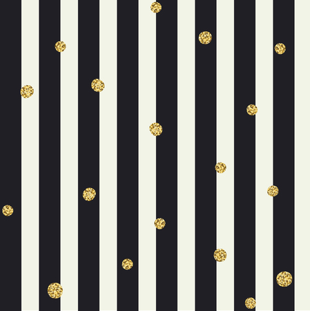 bold: Chevron seamless pattern. Black bold lines and golden dots
