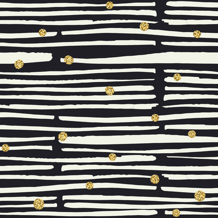 bold: Seamless pattern. Black hand drawn bold lines and golden dots