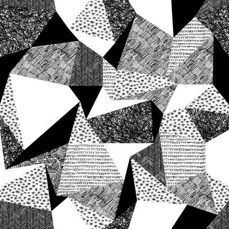 レトロなスタイルの幾何学的なシームレス パターン。ヴィンテージ背景。三角形と手描きのパターン