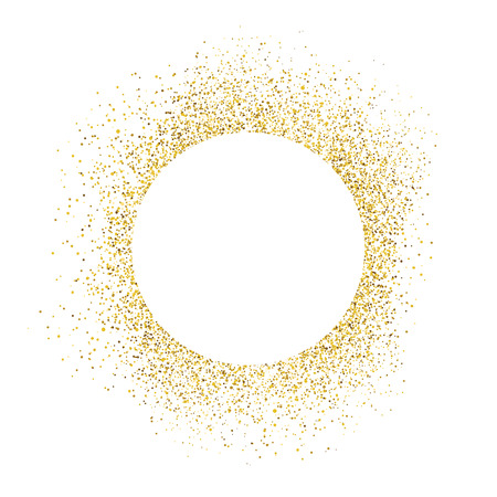 Gold sparkles on white background. White circle shape for text