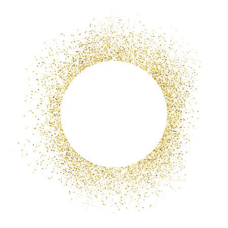 Złoto błyszczy na białym tle. Biały kształt koła dla tekstu