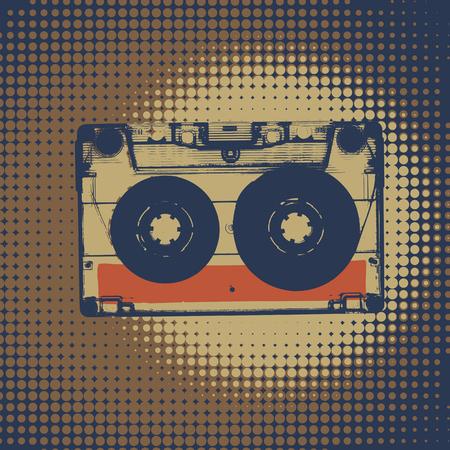カセットのレトロな音楽のバック グラウンド。カセットの図。レトロなオーディオ ・ カセット テープ。ビンテージ スタイルのレトロな音楽の背景