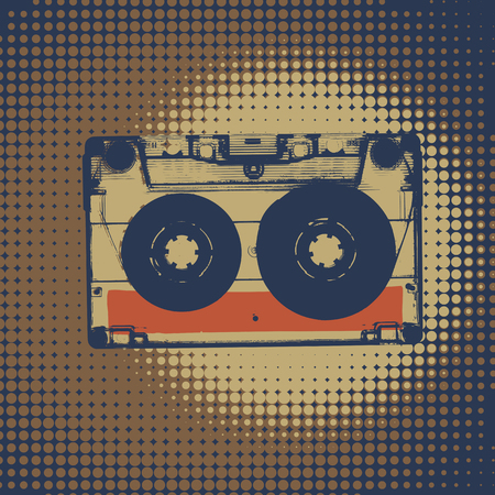 Audiocassette retro music background. Audiocassette illustration. Retro audio cassettes. Vintage styled retro music background
