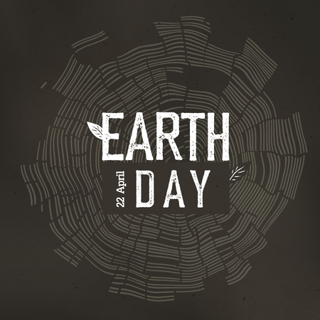 rings on a tree: Earth Day Poster. Tree rings and Earth Day with date 22 April. Earth day conceptual design poster