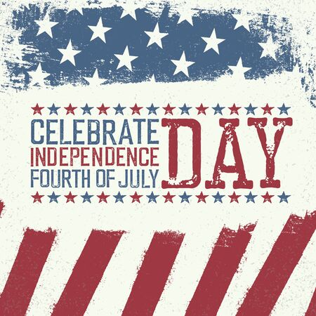 Independence Day Design template. Celebration greeting card of 4th july Illustration