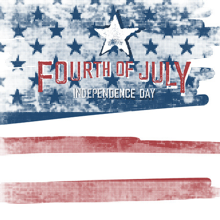 american vintage: 4th of july American Independence day poster. Halftone american flag background