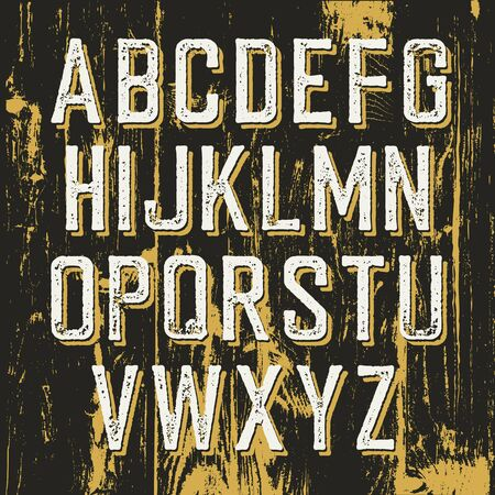 western script: Vintage retro typeface on wooden texture with shadow. Stamped alphabet Illustration