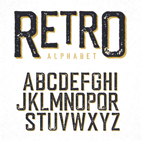 western script: Retro typeface. Stamped alphabet, shadowed. Isolated on white Illustration