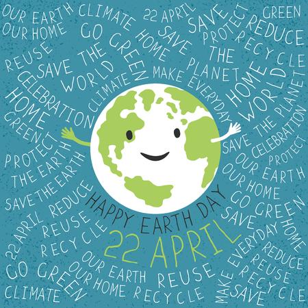 """행복 지구 그림입니다. 지구 미소. """"해피 지구의 날. 4월 22일""""텍스트입니다. 표기 지구의 날 포스터입니다. 지구 주위 텍스트입니다. 그런 지 레이어는 쉽게 편집."""
