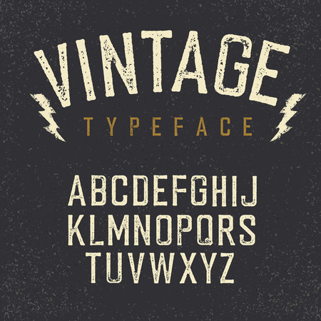 Vintage retro typeface. Stamped alphabet, white scratched letters on textured background