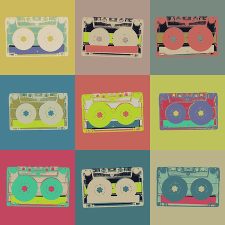 Audiocassette retro popart background. Seamless pattern