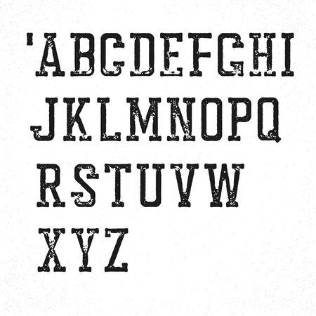 typeface: Retro serif typeface. Stamped grunge alphabet. Isolated on white Illustration