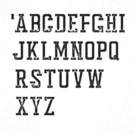 western script: Retro serif typeface. Stamped grunge alphabet. Isolated on white Illustration