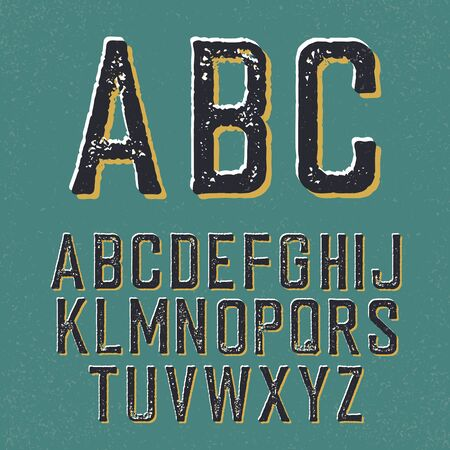 western script: Vintage retro typeface. Stamped alphabet, with shadow