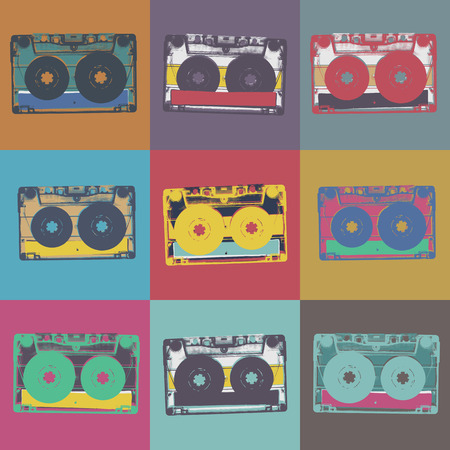 Audiocassette retro popart music seamless background. Audiocassette illustration pop-art seamless pattern. Retro audio cassettes, pop art style, seamless. Vintage styled retro music seamless pattern Ilustração