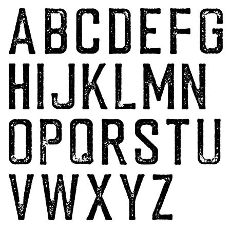 ヴィンテージ レトロな書体。スタンプ アルファベット、傷します。白で隔離