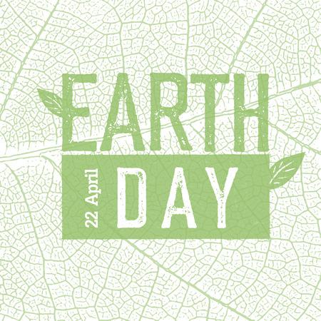 leaf texture: Earth Day on green leaf veins texture.  22 April. Celebration design template. Illustration