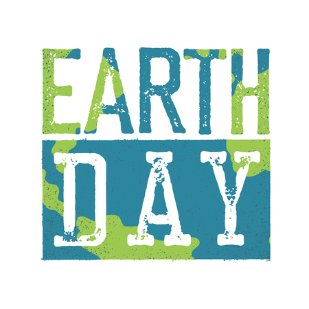 Earth Day. Grunge texture in separate layer.