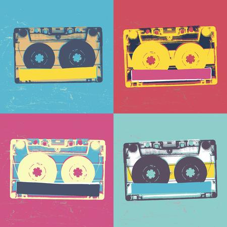 Audiocassette retro popart music seamless background. Audiocassette illustration pop-art seamless pattern. Retro audio cassettes, pop art style, seamless. Vintage styled retro music seamless pattern Stock Illustratie
