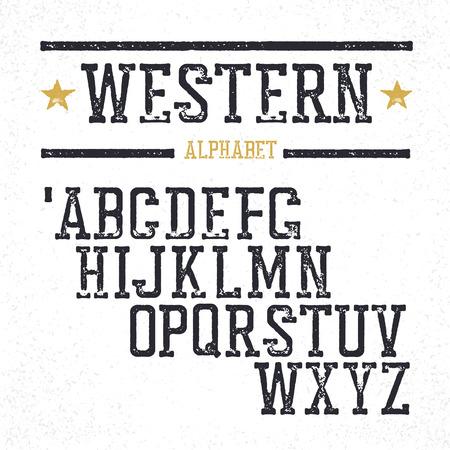 serif: Vintage western alphabet. Stamped serif letters. Grunge style, retro looks. Illustration