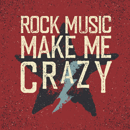 metal grunge: Rock music make me crazy. Star and lightning. Grunge design template