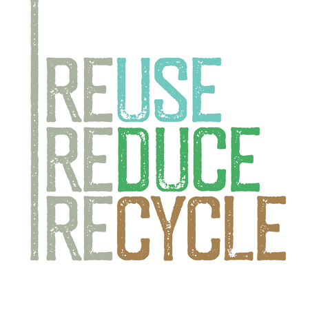 reduce: Reuse, reduce, recycle. Stamp grunge letters. Illustration