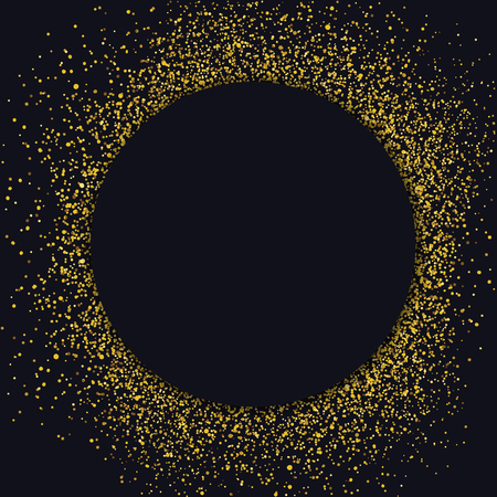 gold circle: Circle label design template. Circle with gold glitter particles on black background. Advertising label golden style.