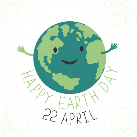 reveals: Earth Day Illustration. Earth smiling and reveals a hug. Grunge layers easily edited. Illustration