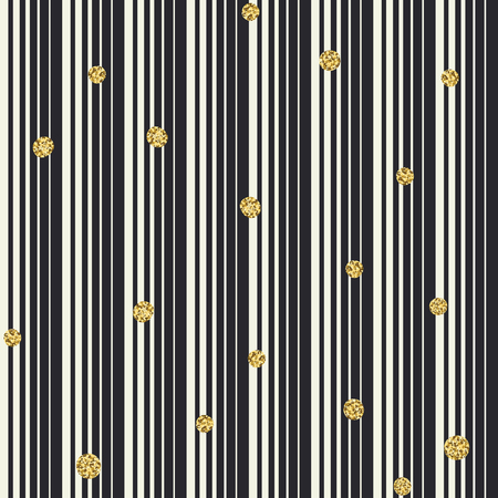 Gradient lines and golden dots seamless pattern