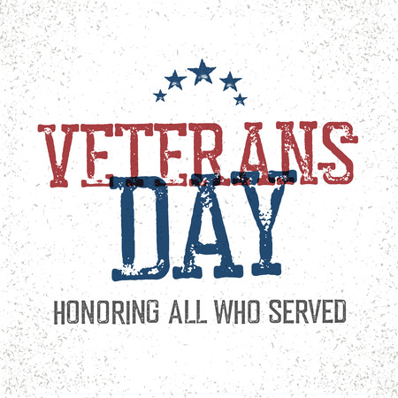 vintage banner: Veterans day. Honoring all who served. Typographic design in vintage stamp style