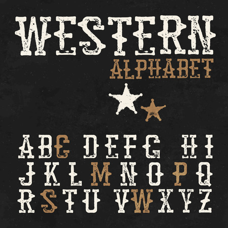 sherif: Western alphabet. On the blackboard background. Vintage letters. For labels and any type retro designs