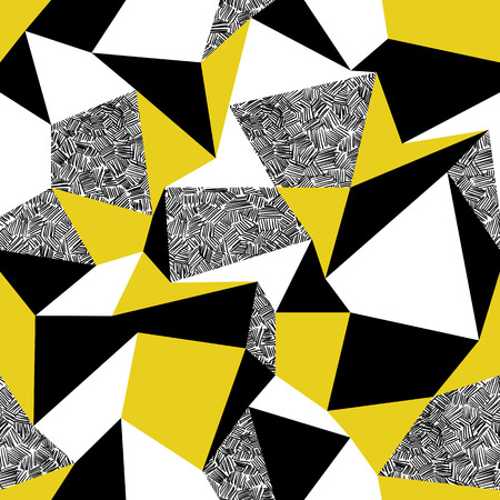 black yellow: Yellow triangles. Geometric seamless pattern in retro style. Vintage background. Triangles and hand drawn patterns Illustration