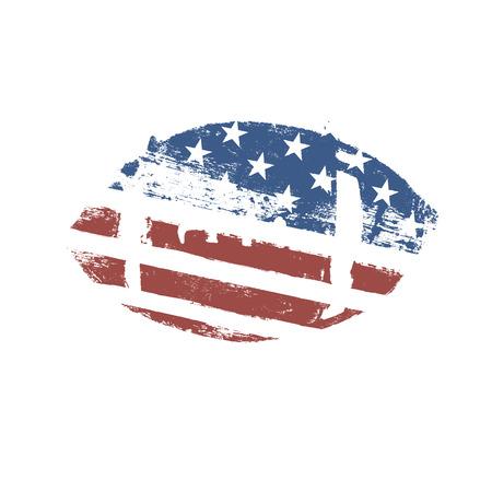 footbal: Grunge American football ball. US flag themed ball symbol. Football vector icon Illustration