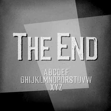 noir: End Credits. Film noir styled abstract screen. The End Title Vector Background. Old cinema background