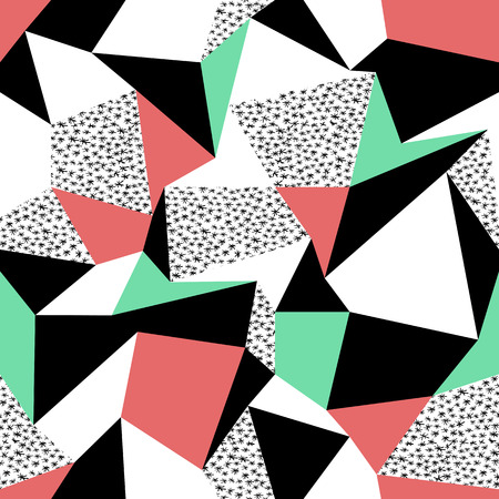 Pink and green triangles pattern design. Seamless print in retro style. Hand drawn asterisk Illustration