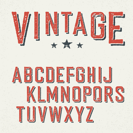 western script: Vintage red grunge and shadowed alphabet letters.