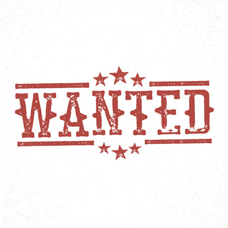 fugitive: Wanted grunge rubber stamp. Western old grunge styled