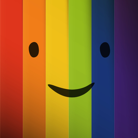 colorful stripes: Cartoon smiling face on abstract colorful rainbow stripes background. Illustration