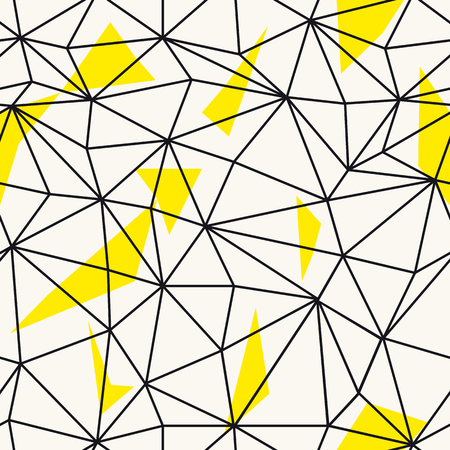 repeat pattern: Low poly seamless repeat pattern. Triangular facets. Vector pattern. Wireframe Background Black and Yellow Seamless Pattern. Illustration