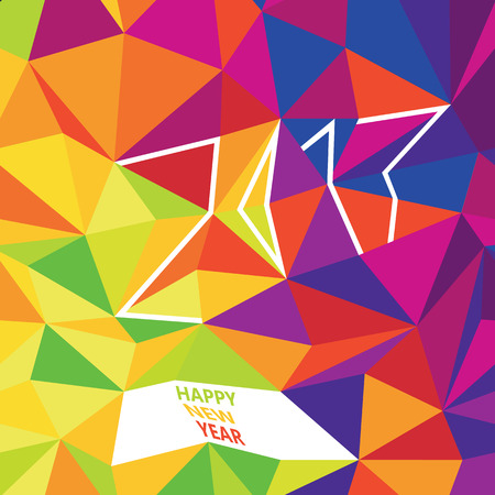 Happy New 2017 Year Greetings. Typography Design. New Year Card Template. Simple Colorful Design. Colorful Low Poly Pattern Background Illustration