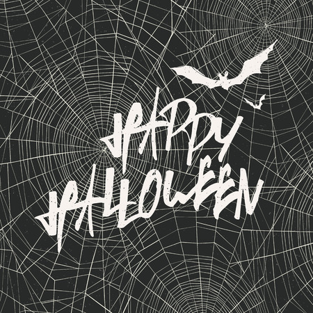 happy web: Happy Halloween Card Template. Happy Halloween. With bats silhouettes and spider web on background.