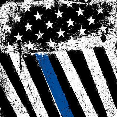 American Flag with Thin Blue Line. Grunge Patriotic Background.