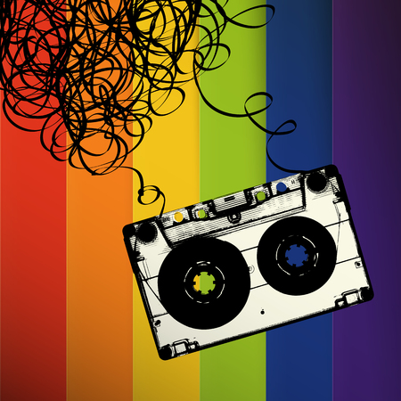 remix: Audiocassette tape with tangled. On rainbow stripes background
