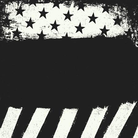black american: Empty black grunge copy space on black and white negative american flag background. Patriotic design template. Illustration