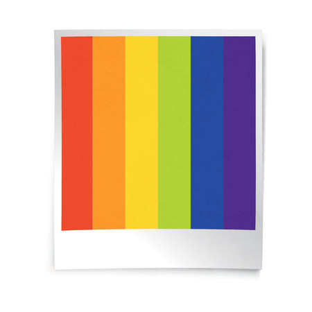 empty frame: Instant blank photo template with rainbow picture. Empty photo frame template. Retro vintage photo frame background. Illustration