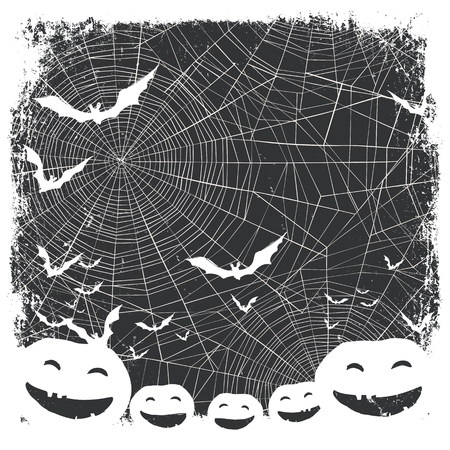spider web background: Halloween border for design. Bats silhouettes and scary pumpkins. Spider web background Illustration