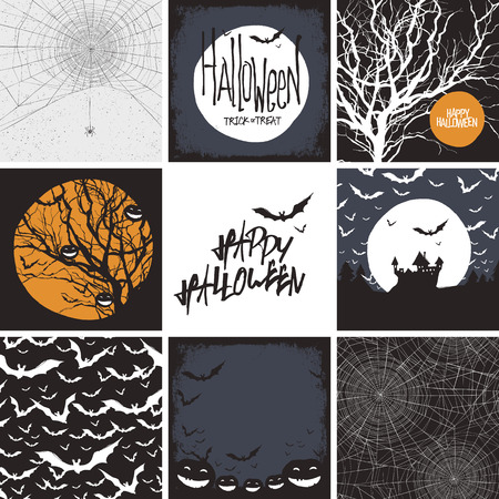 spook: Vector set of vector design elements for Halloween. Seamless backgrounds, card templates and other elements.