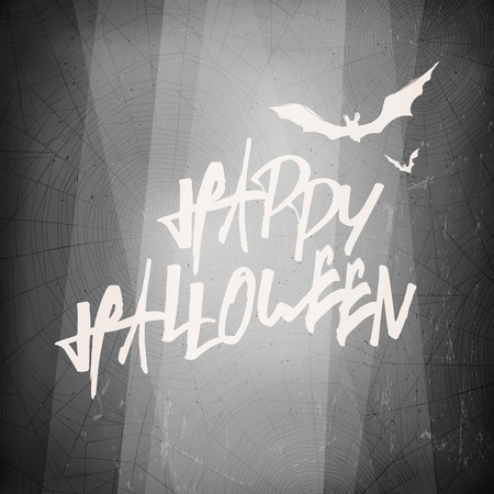 film title: Halloween design template card. Abstract film noir background.