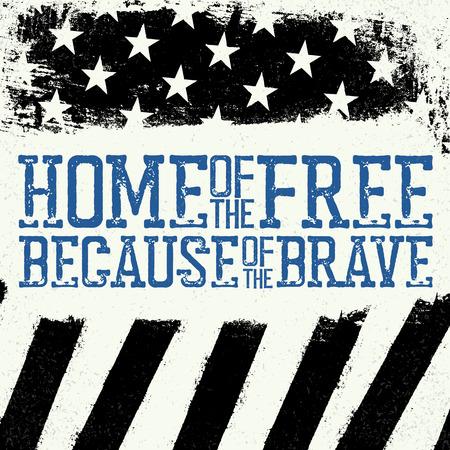 薄い青色の線のフラグです。薄い青色の線とアメリカの国旗。自由の家、勇敢なのため。グランジ背景。