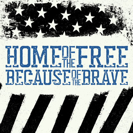 Thin Blue Line Flag. American Flag with Thin Blue Line. Home of the free, because of the brave. Grunge Background.